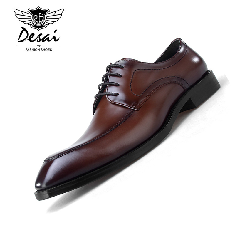 Men's Shoes Mens Derby Shoes Genuine Leather Cowhide Leather Round Toe Office Style Dress Wedding Business Shoes 2018 New Lace-up Shoes