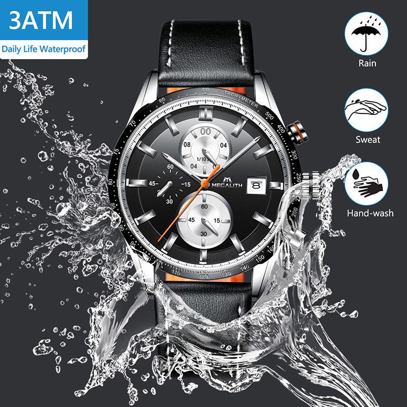 Image 4 - MEGALITH Fashion Mans Quartz Wristwatch Waterproof Sports Chronograp Leather Mens Watches Top Brand Luxury Watch For Male ClockQuartz Watches   -
