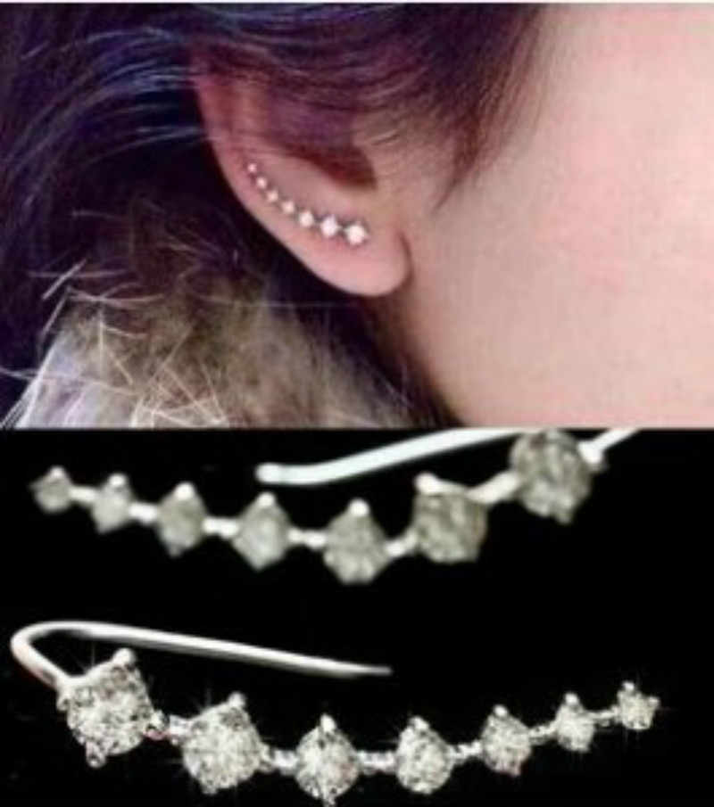 Korean fashion accessories white simple simple row 7 inlaid rhinestone stars earrings women's jewelry accessories wholesale