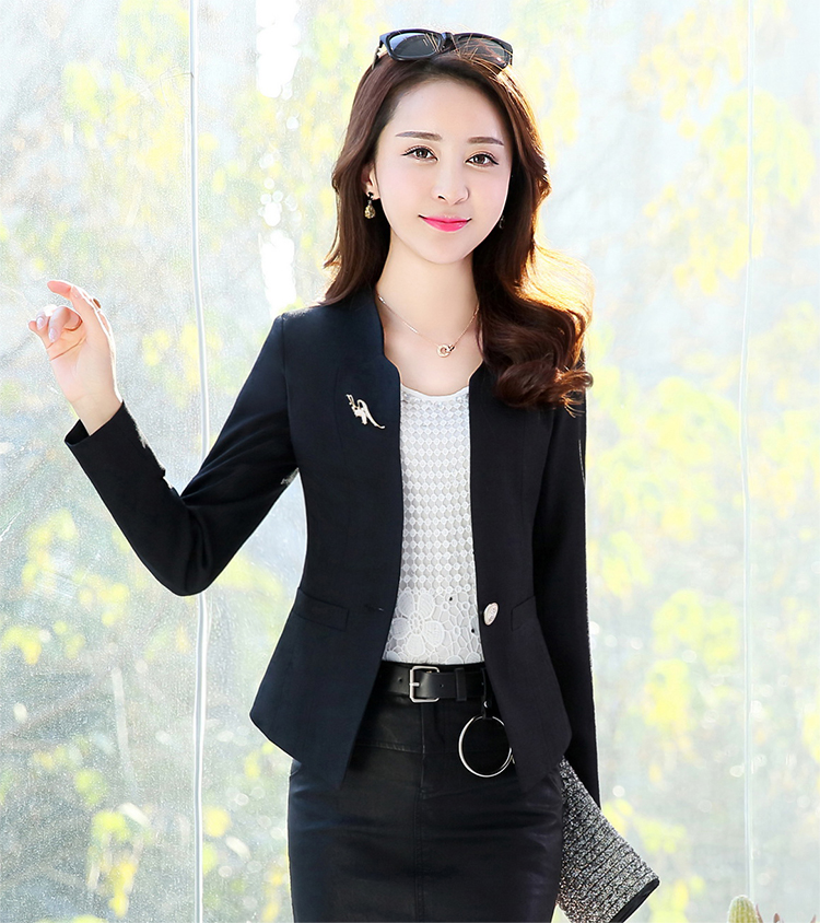 J44027 2018 Spring Autumn New Fashion Women Blazer Casual One Button Small Suit Jacket Ladies Short