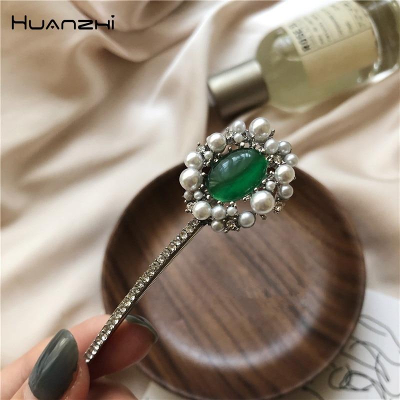 HZ 2019 New Imitation Pearls Barrettes Flower Hairpins Green Hair Clip Headwear Hair Grip Hair Accessories For Women Wedding