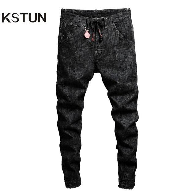 bf05f36e393d3e KSTUN jeans men autumn and winter black skinny slim hip hop denim pants  drawstring elastic waist edge biker jeans clothes 2018