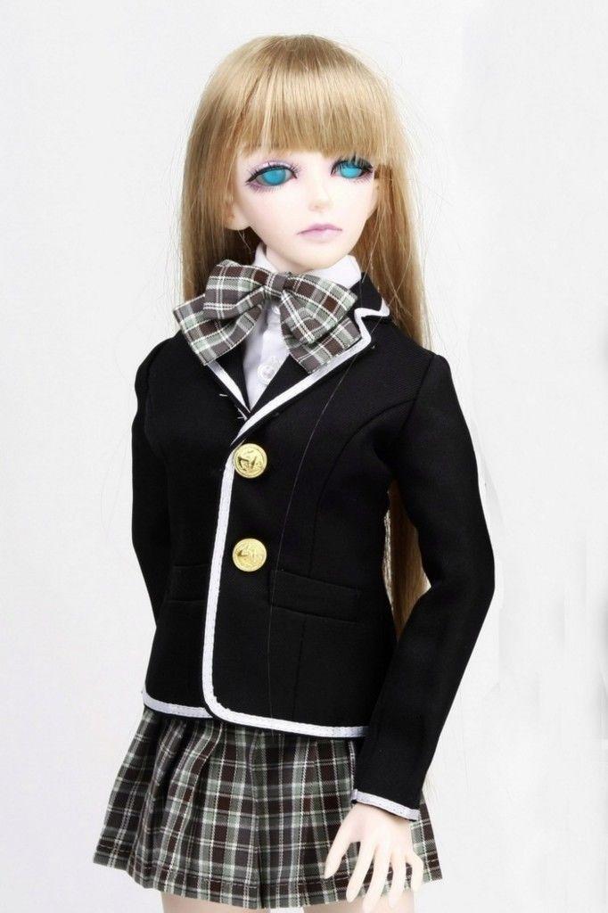 [wamami] 300 Gril School Uniform/Suit 1/4 MSD BJD Dollfie 1 3 1 4 1 6 1 8 1 12 bjd wigs fashion light gray fur wig bjd sd short wig for diy dollfie