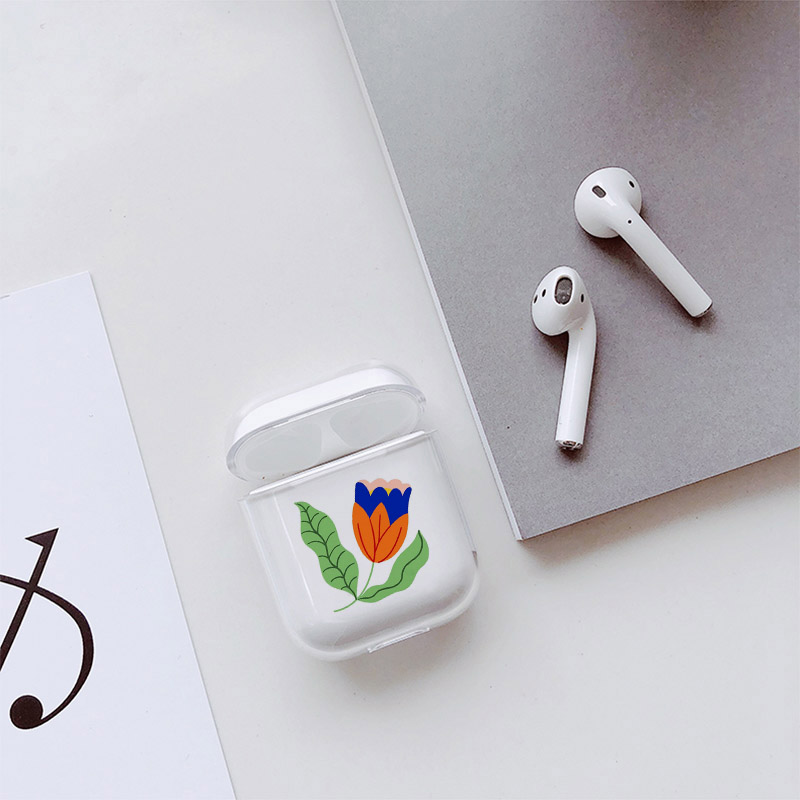 Image 2 - Hard Case For AirPods Case Cute Bluetooth Earphone Cover For Airpods Cartoon Art Flower Transparent Protect Cover-in Earphone Accessories from Consumer Electronics