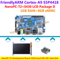 S5P4418 Quad Core Cortex-A9 NanoPC-T2 Development Board(1GB RAM,1.4GHz)+S430 touch HD LCD+Heat sink=NanoPC T2 Package D