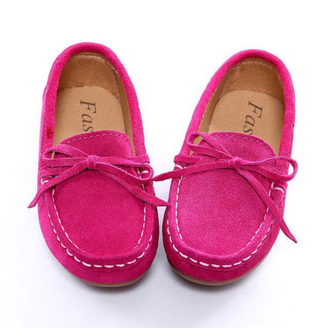 Vintage Pajarita Niños Niñas Zapatos Mocasines de Cuero de Lujo Deslizamiento sobre Niños Enredaderas de Cuero Genuino Niños Zapatos Casuales Kinder Schoenen