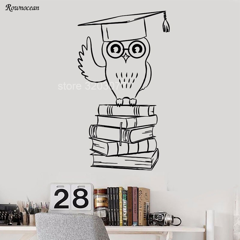 Reading Room Wall Decals Owl Student College Education Books Library Vinyl Cut Stickers Decor Kids Bedroom Inspirational SK09