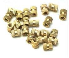 100PCS M4 Series M4*(L)-5.2mm(OD) Copper Inserts Brass Double Pass Knurl Nut Embedded Fastener 100pcs m4 4 5 6 8 od 5 2mm m4 injection molding brass knurled thread inserts nuts