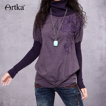ARTKA Women'S Cotton Flare Sleeve Turtleneck Thin Woolspandex Solid Casual Style Embroidered Two Piece Sweater ZA10233D