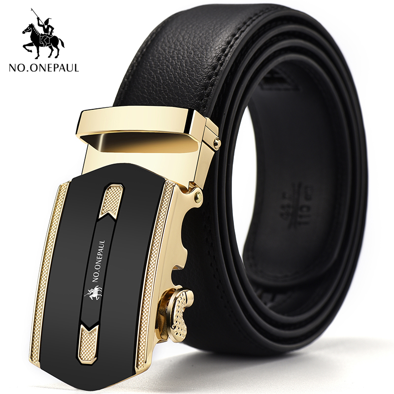 NO.ONEPAUL Men's Formal Wear Casual Belt With Metal Gold Luxury Automatic Buckle Personality Trend Leather Belt Free Shipping