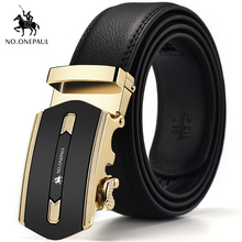 NO.ONEPAUL Mens formal wear casual belt with metal gold luxury automatic buckle personality trend leather free shipping