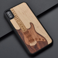 For Iphone 6 s 7 8 plus X Guitar retro style Wooden Craft original fashion Phone Case Handmade For Huawei P10 plus wooden cover