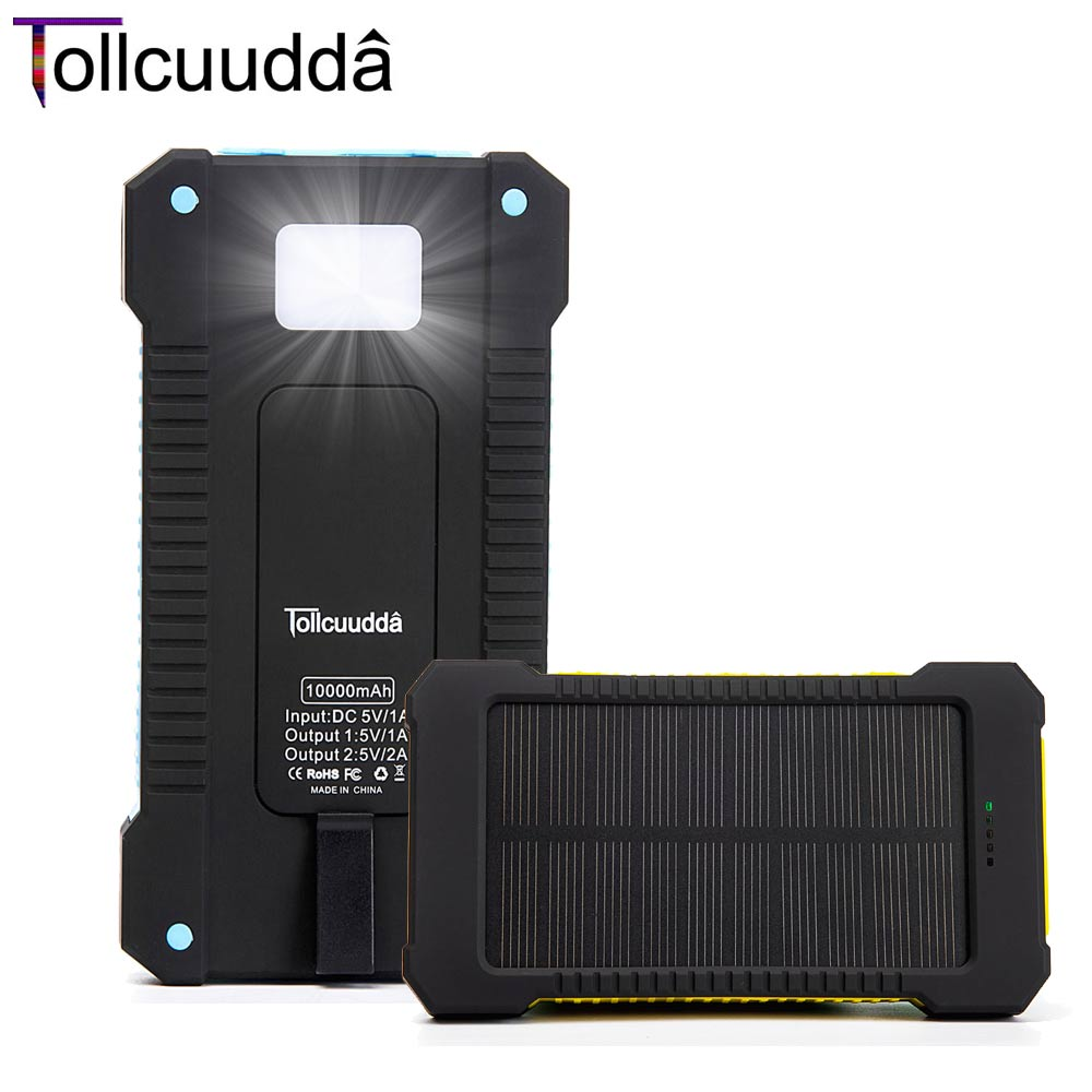 Tollcuudda Phone External Battery Power Pover Bank Solar Portable Usb Charger Mobile Powerbank Cargador For Iphone