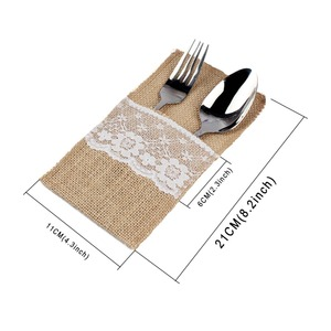 Image 4 - OurWarm 10Pcs Burlap Lace Cutlery Pouch Rustic Wedding Tableware Knife Fork Holder Bag Hessian Jute Table Decoration Accessories