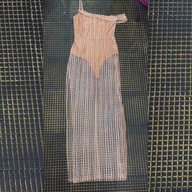 Célébrité Robe 2018 De Manches Longue Soirée Robes Courtes Spaghetti Perles À Beige Patchwork Évider Maille Courroie Mode Sexy qrgg6wtZH