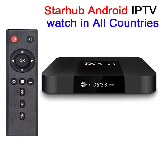 TX3 Mini Android 7.1 with Singapore iptv subscription starhub tv box watch all channels with starcup APK PK Freesat V9 Pro