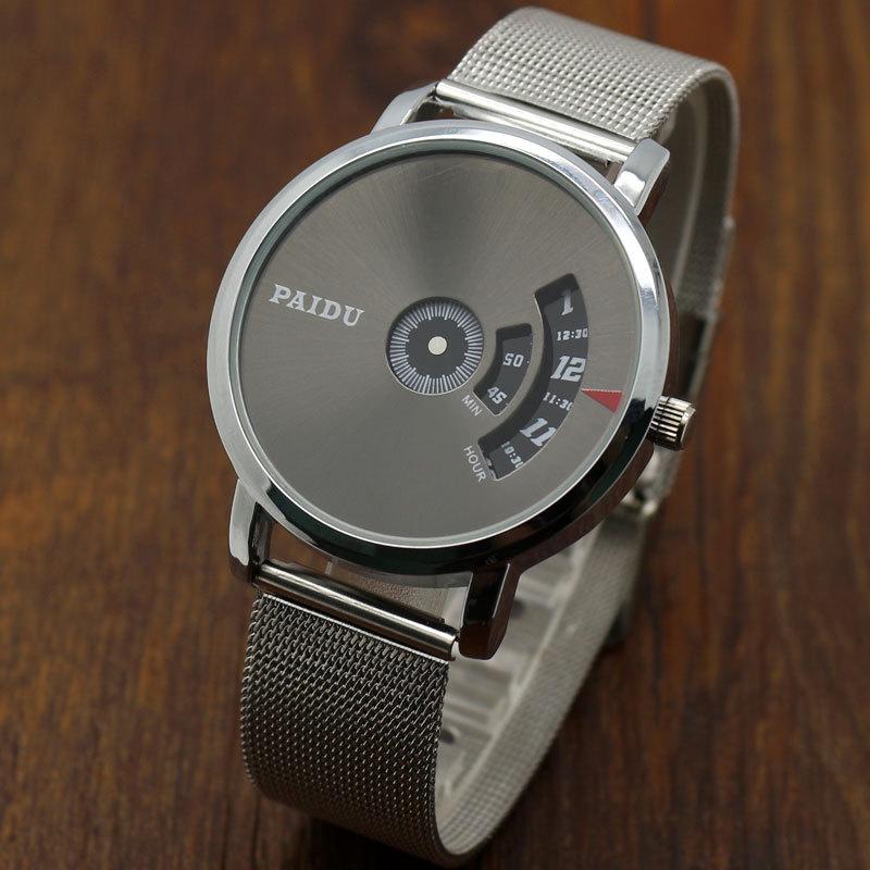 Turntable Dial Brand Net Mesh Steel Band WristWatches Fashion Sports Watches Men Women Unisex Dress Clocks Black White Dial Hour