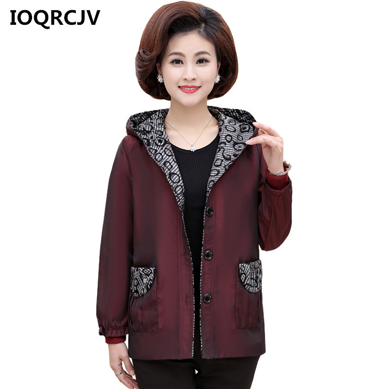 2019 Autumn Middle-aged Women's   Basic     Jackets   Print Retro Casual Windbreaker Coats Slim Long Sleeve Outerwear Plus Size 5XL R184