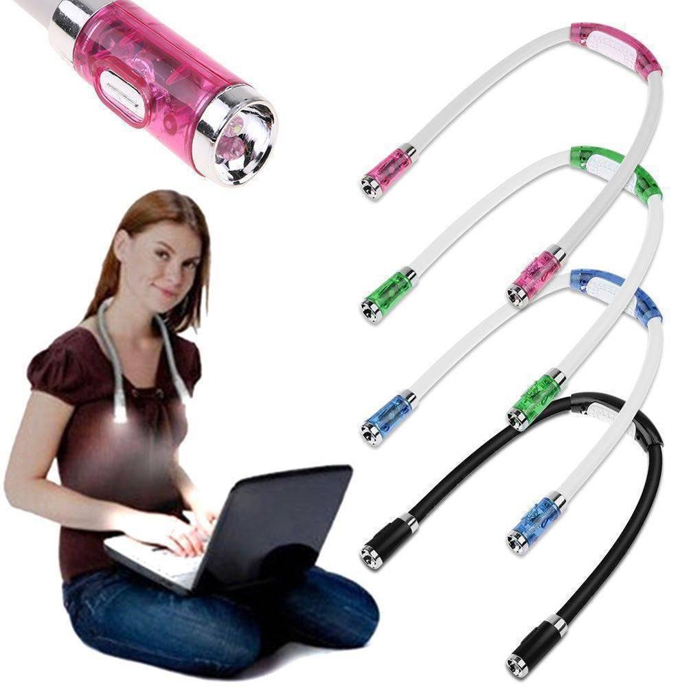Conveniente flexível handsfree led pescoço abraço luz livro lâmpada de leitura novidade led night flash luz acampamento