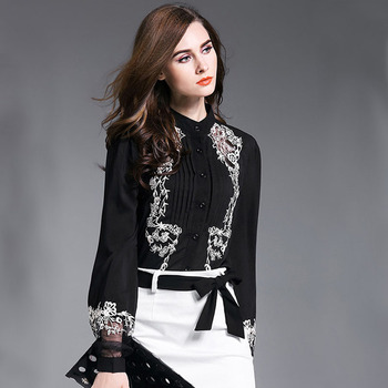 New Fashion Women Tops Embroidery Transparent Floral Lantern Sleeves Black Blouse Shirt Ladies Work Wear Office Chiffon Blouse Рубашка
