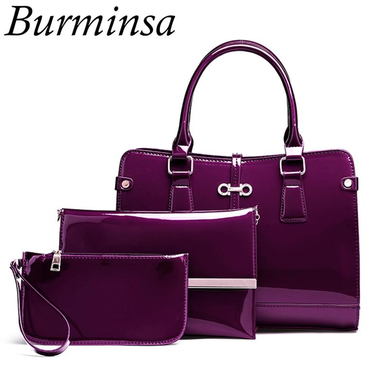 Burminsa 3 Pcs/Set Purple Patent Leather Handbags For Women High Quality Female Shoulder Messenger Bags 2019 Clutch+Coin Purse