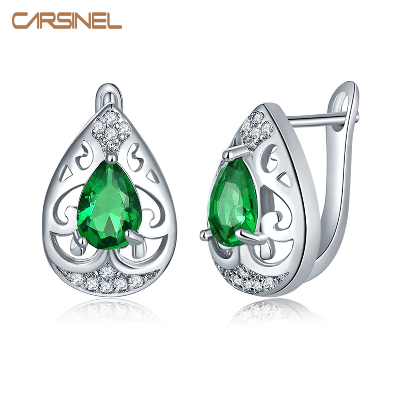 CARSINEL Fashion Smart Chic White Zircon Earring Silver color Lady Small Huggie Hoops Pendientes para mujeres Jewelry Earing ER0285