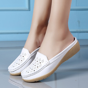 Image 5 - dobeyping Cut Outs Summer Woman Shoes Genuine Leather Women Flats Hollow Womens Loafers  Soft Mother Moccasin Shoe Size 35 41