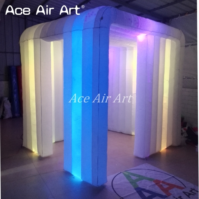 New style 2.4m reusable indoor and outdoor rental inflatable photo booth for wedding decoration with door in left