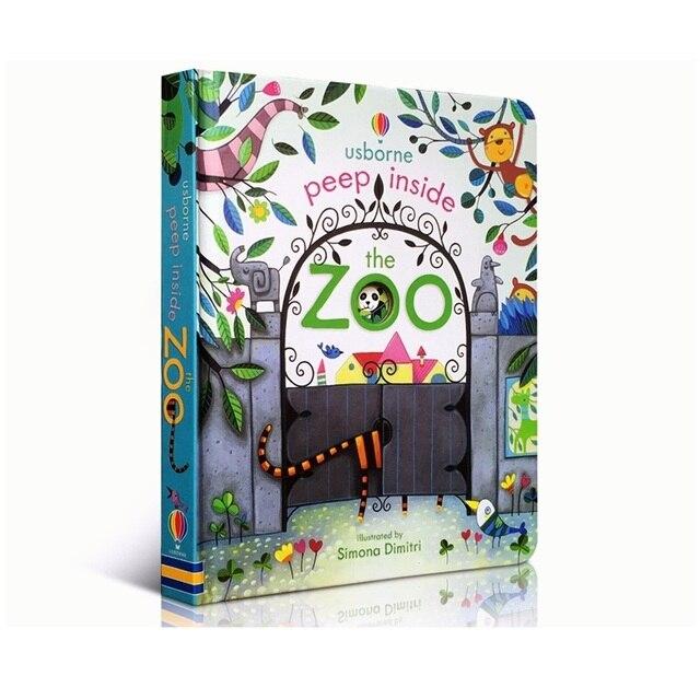 Peep interior del Animal del zoológico inglés educativo 3D Flap imagen libros bebé niños lectura libro