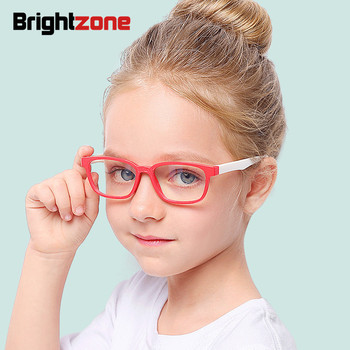 Brightzone 2018 Tr90 rond enfants Anti lumière bleue lunettes fille optique plaine verre lunettes doux lunettes cadre ordinateur jeu
