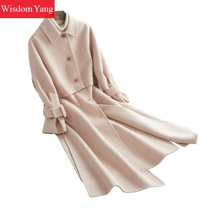 De Alpaga Femmes Laine Tendance Coréenne Chaud Moutons Coat Pardessus Manteau Long Dames Rose Pink Bureau Hiver Survêtement Élégant Tranchée Sq0vOvw