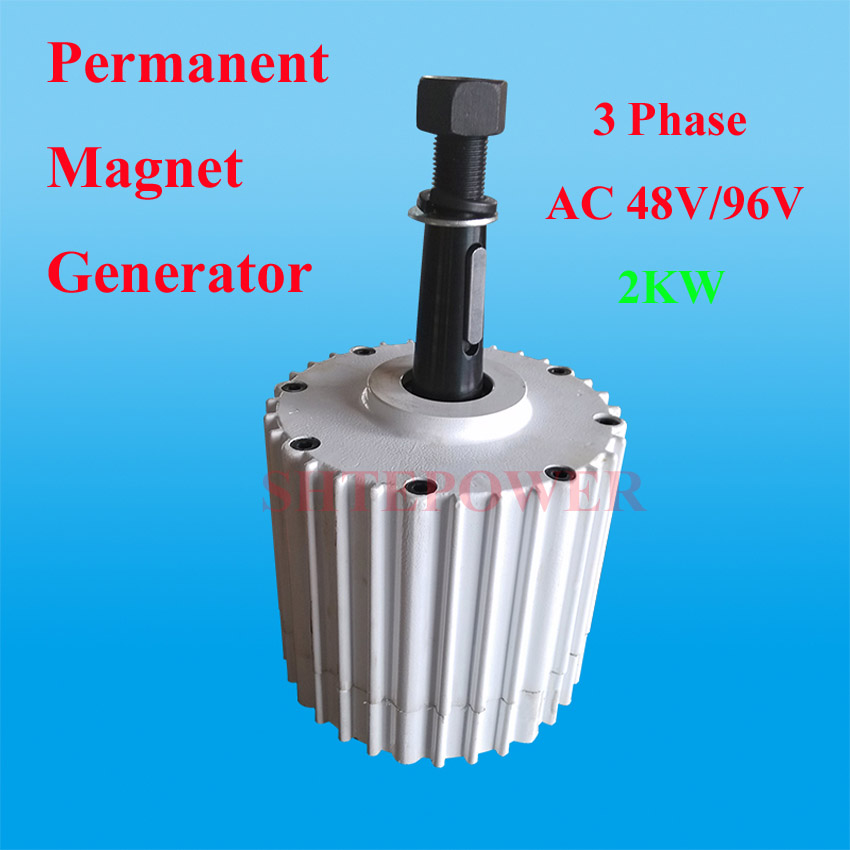 hot selling! 48v 96v 2KW 2000W permanent magnet generator low RPM 3phase ac output