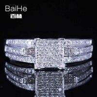 Baihe стерлингового серебра 925 0.4ct CERTIFIED H/SI круглая 100% из натуральной партии алмазов Для женщин офисные/Карьера Ювелирные украшения кольцо