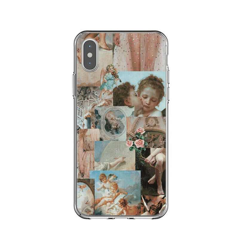 Funda para teléfono TPU de silicona con patrón de Ángel renacentista artístico para iPhone 8 7 Plus 6 6 s Plus X Xs XR XS Max 5 5S SE