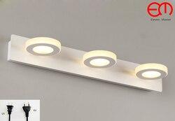 Okrągłe z wtyczką AC100 240V LED lampa lustrzana łazienka ściana światło minimalistyczne światło lustrzane szafka z lustrem kinkiet RML0029|Wewnętrzne kinkiety LED|   -