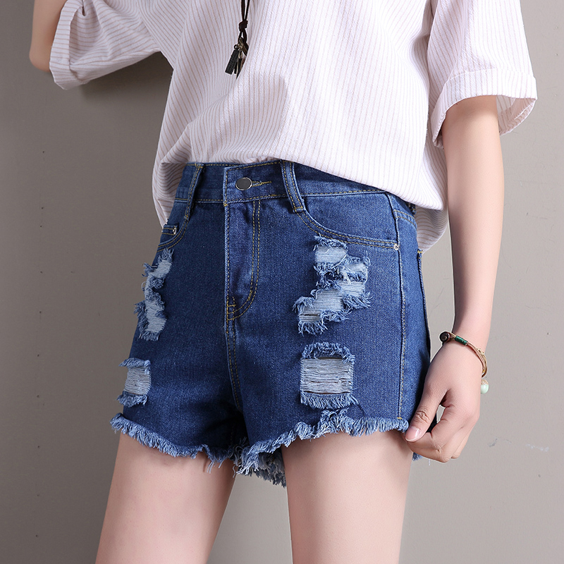 LEQEMAO women shorts 2018 summer High Waist Denim Shorts Women Slim Casual Mujer Plus Size yong Female Jeans shorts