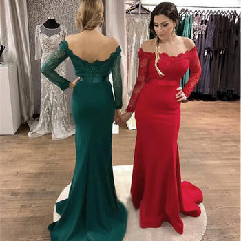2019 Robe De Soiree Red Long Sleeve Mermaid Prom Dresses Off The Shoulder Mermaid Elastic Satin Lace Top Arabic Evening Gowns
