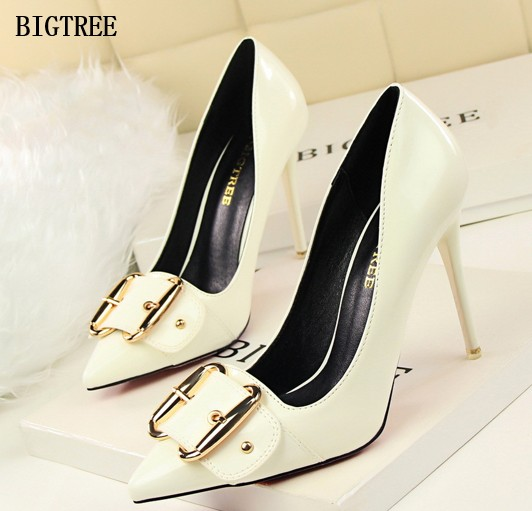 BIGTREE New Fashion High Heels 10CM Women Pumps Thin Heel Single Shoes Classic Sexy Pointed Toe Shallow Mouth Prom Shoes women pumps sexy open toe lace fashion pointed toe high heels new style shallow classic spring autumn single shoes ladies