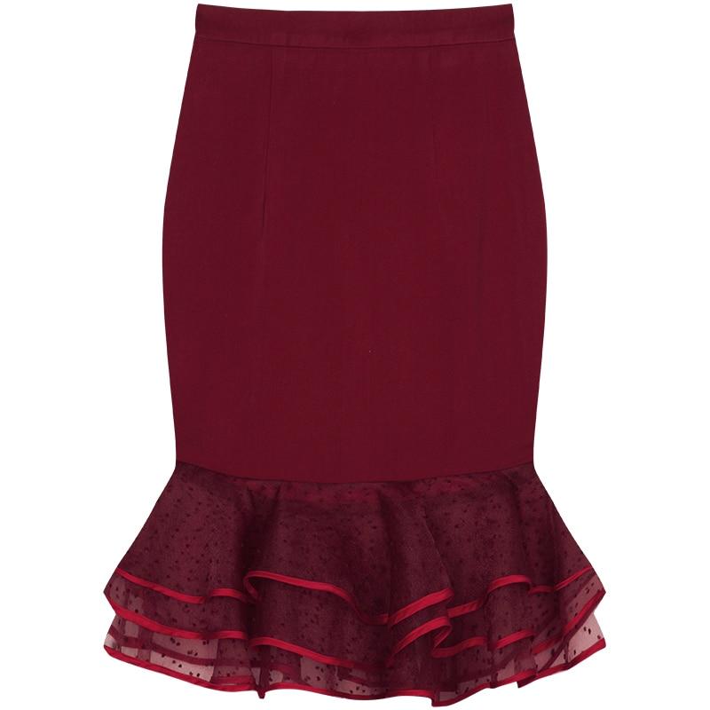 5460 Longitud Mujeres Roja Malla 2019 La Imperio Rojo Falda Moda Lápiz Slim Verano Último De Las Volantes Yigelila Rodilla wP6qxTH6
