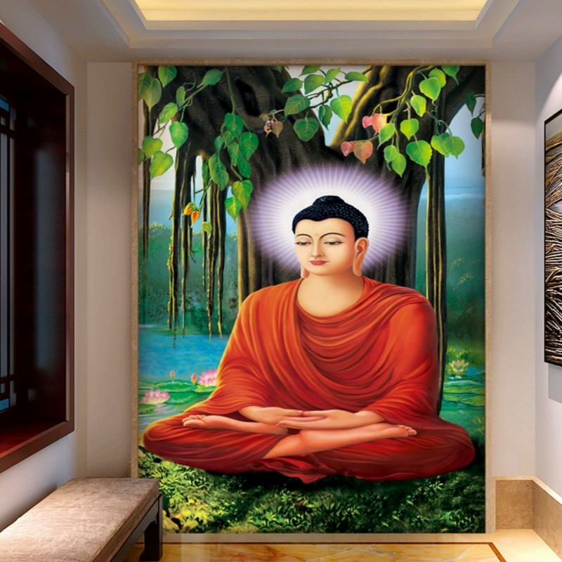 цены Custom Under the Linden tree Buddha statue wallpaper custom mural Temple Religion Wallpaper for Living Room