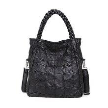 2016 weibliche Europäische und Amerikanische Mode Schaffell Aus Echtem Leder Stitching Frauen Messenger Bags Handtasche Leder Tote Big Bag