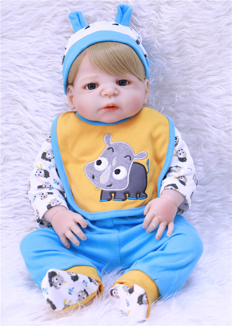 "Blond Hair Boy Doll Reborn 23"" Full Body Silicone Reborn Babies For Child Gift Bebe Real Alive Reborn Bonecas Juguetes Blue Eyes"