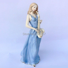 Porcelain Pub Saxophone Player Girl Figurine Ceramic Female Saxist Statuette Craft Accessories for Room Decor and Souvenir Gift