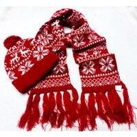 אופנה חדשה ליידי חורף עיצוב פתית שלג צעיף אקארד סרוגים הכפה hat סט 2 יחידות