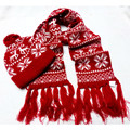 New fashion lady  winter 2pcs set  jacquard knitted beanie hat scarf  snowflake design