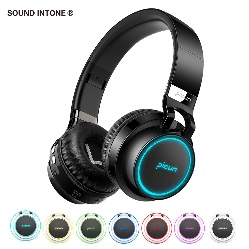 Sound Intone P60 Bluetooth Headphones Wireless Led Glowing Headphone 7 colors Shining Earphone for Samsung for iphone for TV MP3 ...