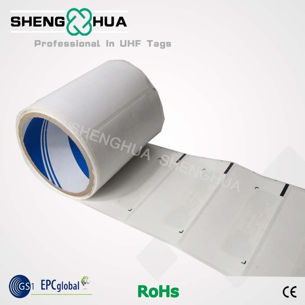 100pcs/lot Black Mark UHF Passive Smart Paper White Self Adhesive Tag Label Sticker For RFID Printer