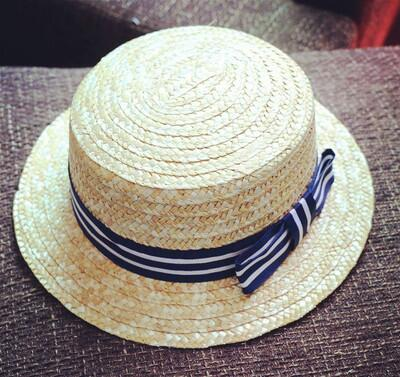 Dropwow wholesale sun flat straw hat boater hat girls bow summer ... 86a85ff9952d