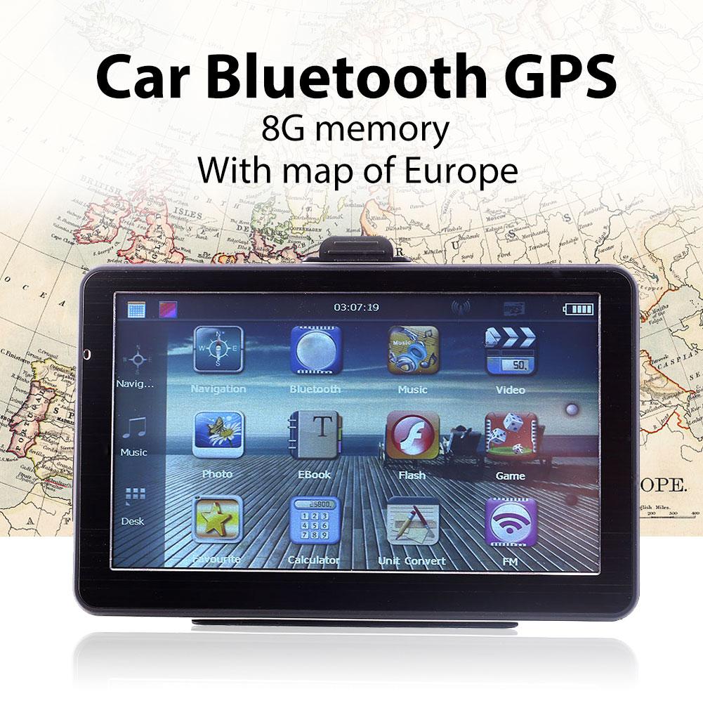Bluetooth GPS Car Navigation 7 Inches EU Maps MP3 Player Bright LCD Screen a gauge 7 inch lcd at070tn94 highlight navigation screen screen