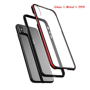 Image 5 - Luxury Thin Transparent Glass Case For iPhone XS XS Max Shockproof TPU Aluminum Metal Full Protection Cover Case For iPhone XR X